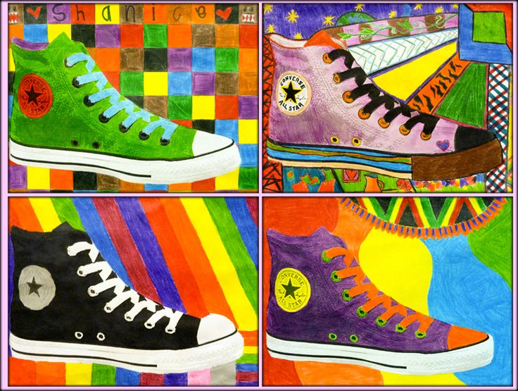 Give students a photo copy of a Converse shoe or some other shoe style and have them design the shoe and then do patterns in the background - good color theory and pop art lesson