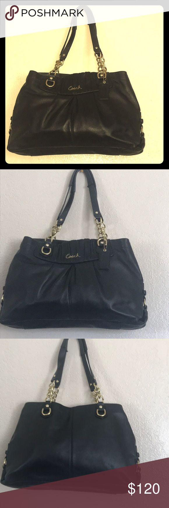Coach Black Leather Bag Authentic Coach Leather Bag Black Gold Bag  Preowned  Blue inside  Inside divider  Gold Handles  Excellent Condition  Gently use Coach Bags Satchels