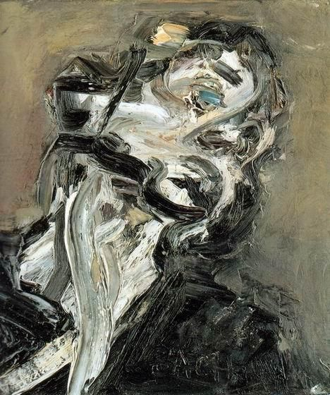 Frank Auerbach (British, b. 1931), Head of J.Y.M. II, 1984-85. Oil on canvas.  I like how the texture makes the picture look so distorted
