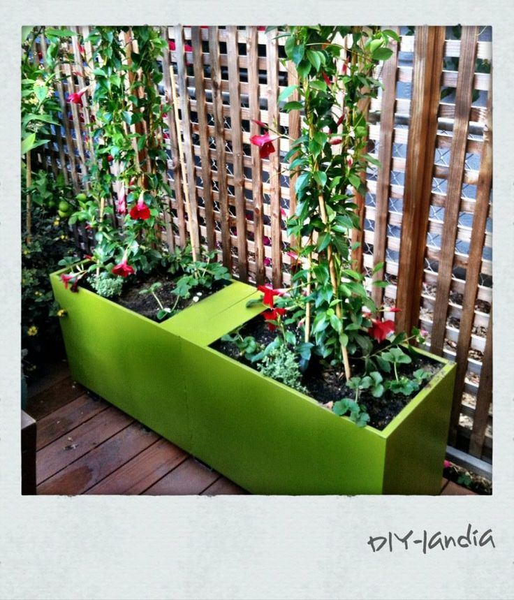Upcycled File Cabinets turned garden planter  featuring dipladenia, strawberries and thyme.