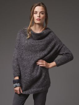 Knit this womens drape front loose sweater from the Kidsilk Haze Trio Collection. A design by Marie Wallin using Kidsilk Haze Trio an exciting new, beautifully soft lightweight yarn comprising of 70% mohair and 30% silk. This knitting pattern is suitable for beginners.