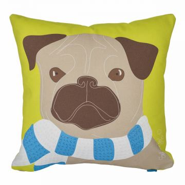 A puggalicious pillow. 12x12 cotton twill, with or without faux-down insert. Order now: http://troskodesign.com/shop/throw-pillow-pug/