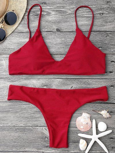 SHARE & Get it FREE | Adjustable Straps Padded Bralette Bikini Set - Red SFor Fashion Lovers only:80,000+ Items • New Arrivals Daily Join Zaful: Get YOUR $50 NOW!