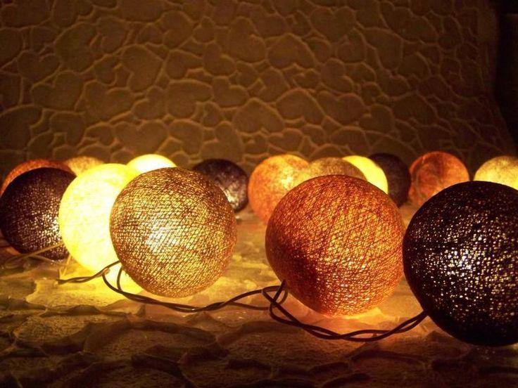 ghirlanda di luce, palle di cotone, lavoro manuale di Siamrose Art & Decor su DaWanda.com