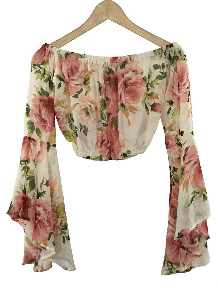 floral off-the shoulder crop top