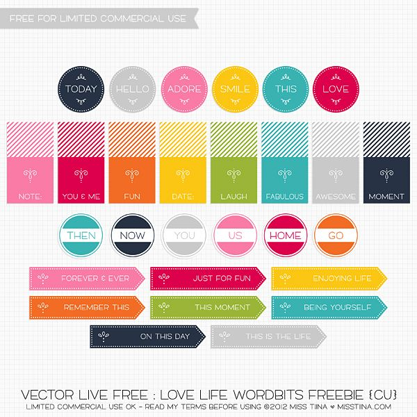VECTOR LIVE FREE : LOVE LIFE WORDBITS FREEBIE