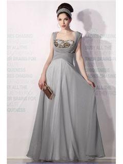 エレガントなAライン スクエアネック フロアレングスイブニングドレス