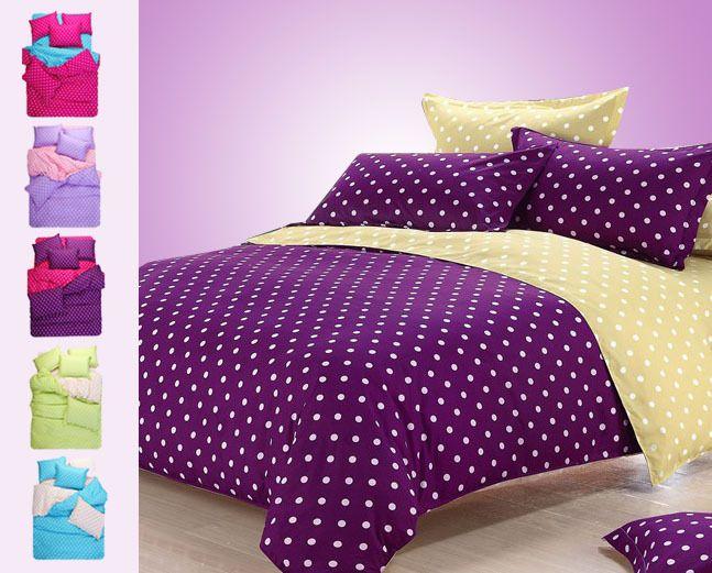 Sin gastos de envío, 2/3pcs conjuntos de ropa de cama( edredones/cobijas cubrir fundas de almohada), puntos duvet cover set, morada d...