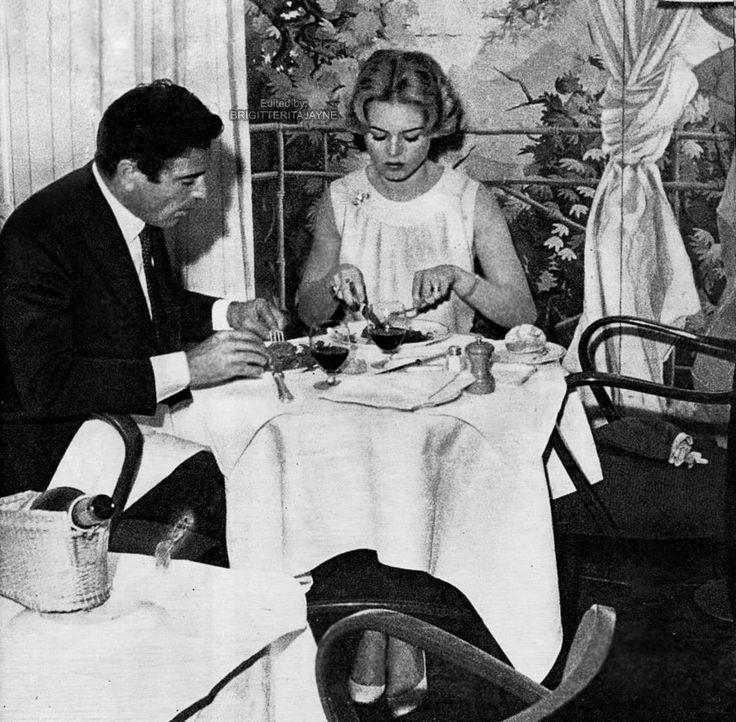 """Rare photo of Brigitte and Raf Vallone in a restaurant, 1958 source """