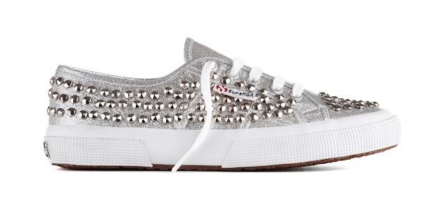 Superga silver studded sneaker