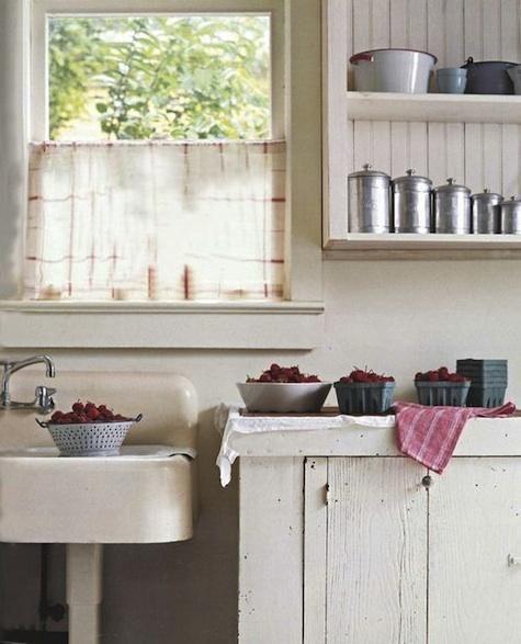 Tea towel as cafe curtain.