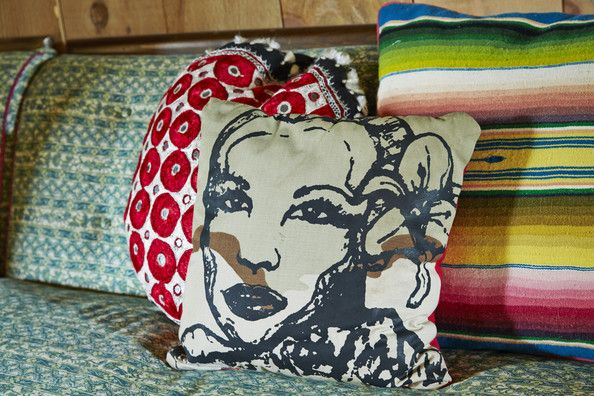 Vintage Living Room - Eclectic throw pillows on a patterned sofa. <3