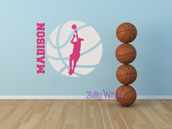 Girls Basketball Custom Vinyl Sticker Name Decal Nursery Monogram Kids Room    Sports Decal   Wall Name Decal Childrens Boys And Girls Decor