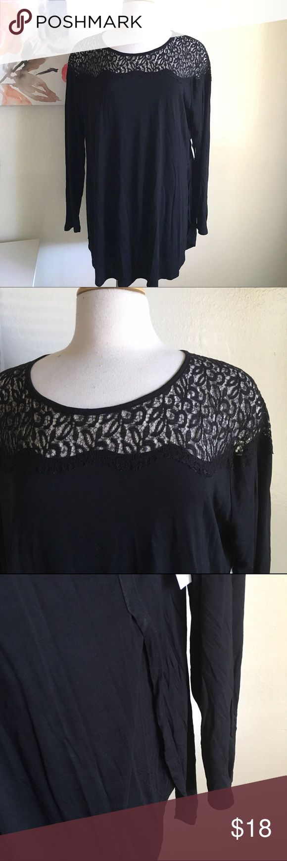 Black tunic Beautiful black tunic. It's a long length and goes past the hips. It's sheer lace among the shoulders. Full length sleeves. It has a split hem on both sides of the hips. Very soft and lightweight. New with tags. Old Navy Tops Tunics