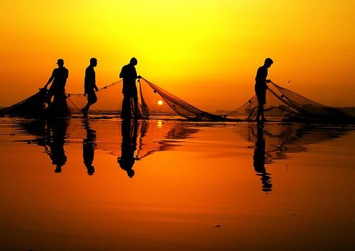 """Fishermen: Sea of Galilee. """"Follow me and I will make you fishers of men."""""""