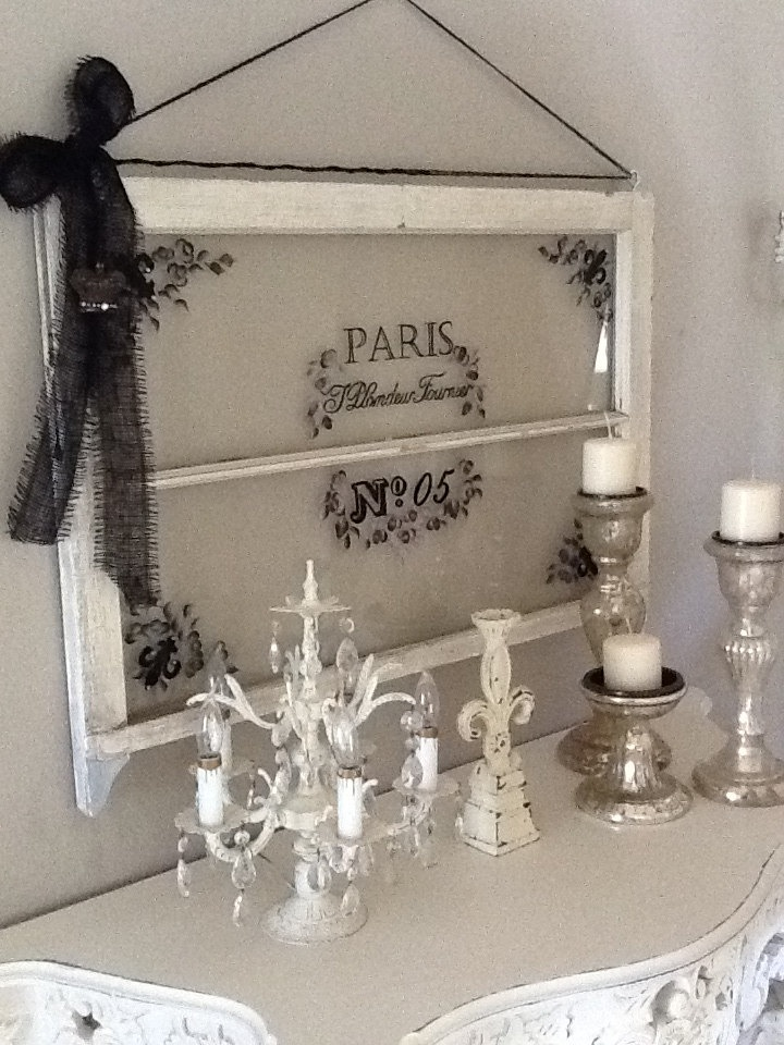 Vintage All Handpainted Window with the Parisian flair, all accesorized with unique one-of-a-kind fluer-de-lis. $125.00, via Etsy.