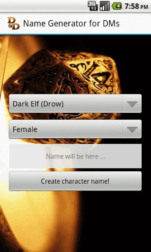 """D&D Name Generator for DM"" is a new name generator.First of all, ""D&D Name Generator for DM"" has been developed as a tool for ""Dungeons and Dragons"" series of fantasy roleplay game. It will be useful for game masters / dungeon masters / storytellers and others. You can also use this tool as a name generator for your RPG\\MMORPG computer games.This is NOT a game, it is a utility that will help people who need some good not meaningless name. For now, this name generator supports two lan..."