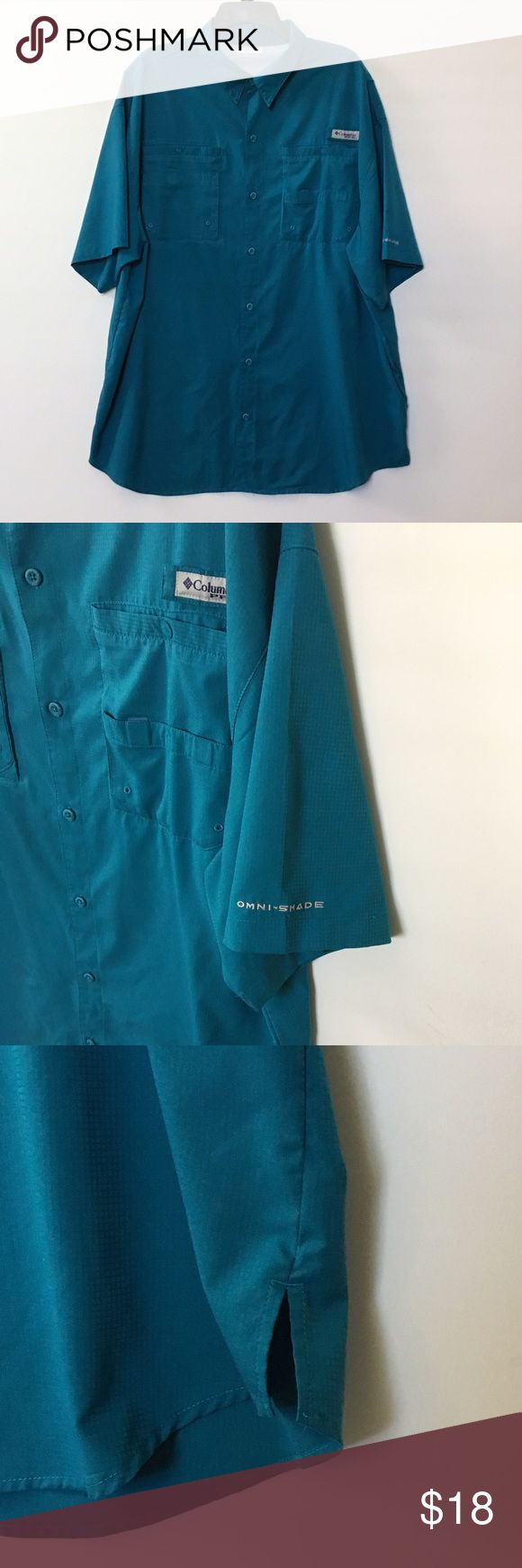 Columbia Sportswear Company Shirt Columbia Sportswear Company Button Down short sleeve shirt, Aqua color, a pocket on each side with a snap closure. Pleats on the side. Size XXL/2TG Shirts Casual Button Down Shirts