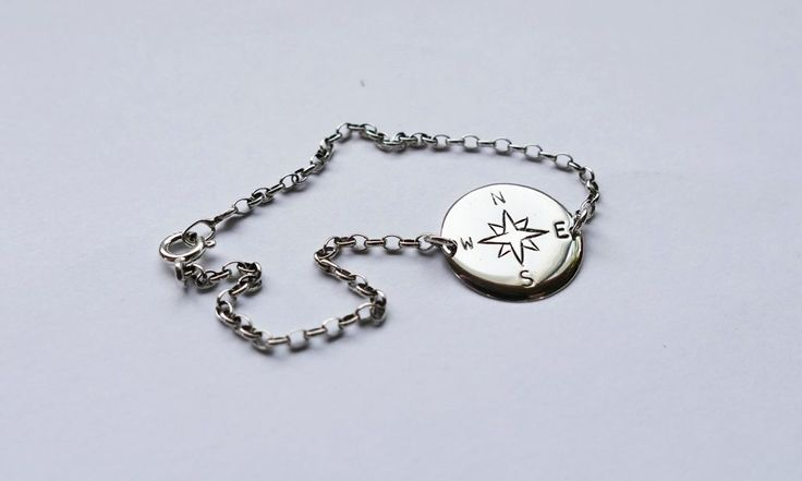 Compass bracelet #silver #arrows #jewellery #handmade #stamped #engraved