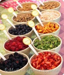 Yogurt Parfait Bar: http://babybumpbundle.com/seven-bars-to-set-up-at-your-baby-shower-brunch/
