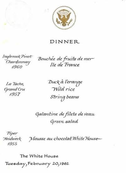 34 best Jackie Kennedyu0027s White House Menus images on Pinterest - dinner menu