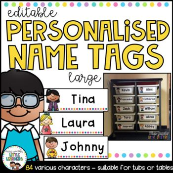 Student Name Tags {Large Editable} These student name labels come in 84 various designs (42 girls and 42 boys). They are alsoeditablewhich means all you have to do is choose your font, type in your students name, print and laminate/contact if you wish. Suitable for labelling student desks, locker tubs, playdough and tracing mats etc.