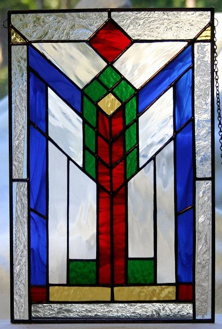 geometric stained glass panel - southwest, prairie design AGlassMenagerie.net