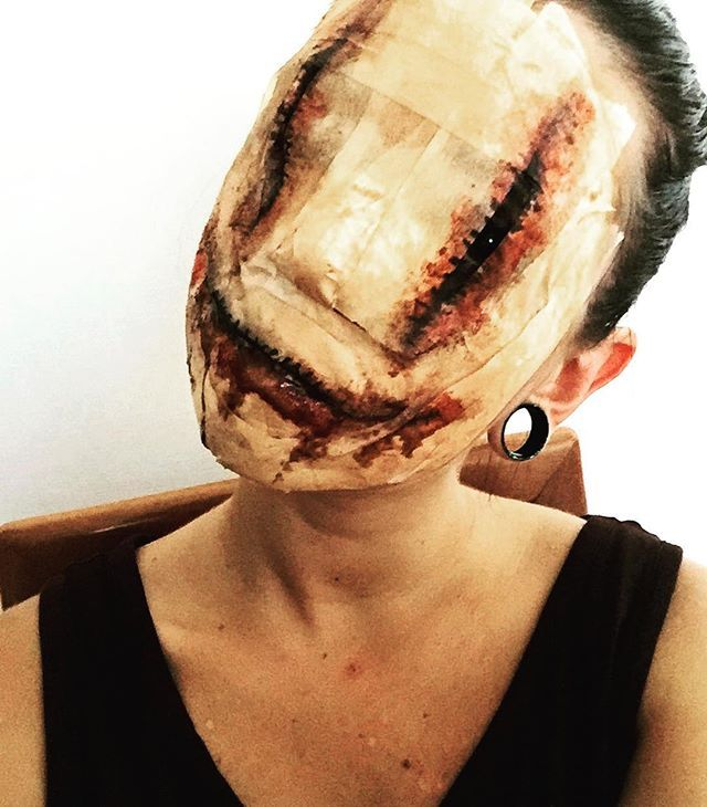 Pin for Later: 20 of the Scariest, Goriest Halloween Costumes Using Makeup (NSFW!) Face Tuned Out