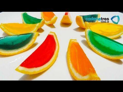 Receta de gelatinas en la cascara de la fruta. Receta de gelatinas artís...