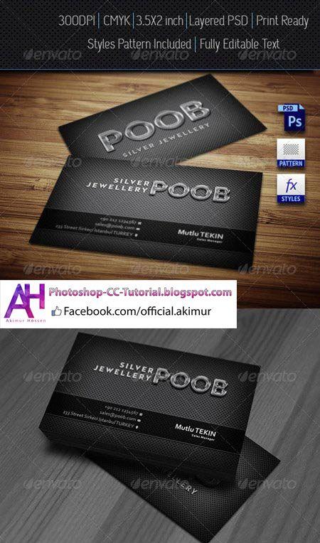 Carte De Visite Silver Jewellery Business Card Photoshop PSD