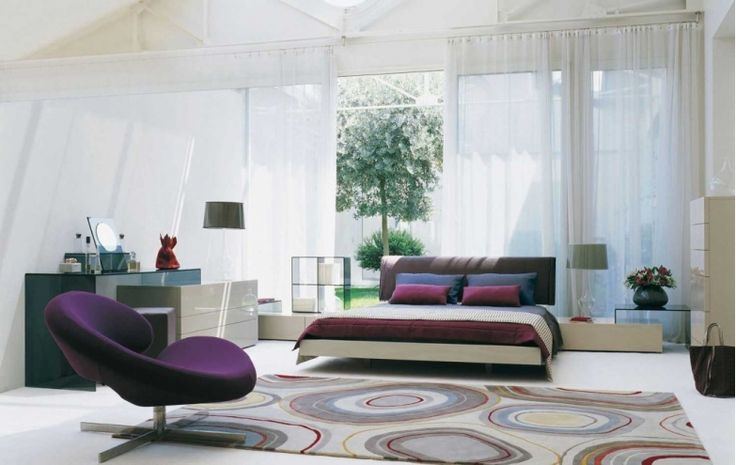 Bright Master Bedroom with Purple Accent