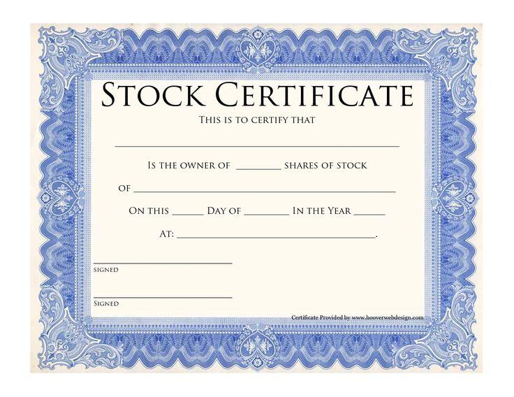Blank Stock Certificate Template | Printable Stock Certificates Template Blue Stock Certificate This