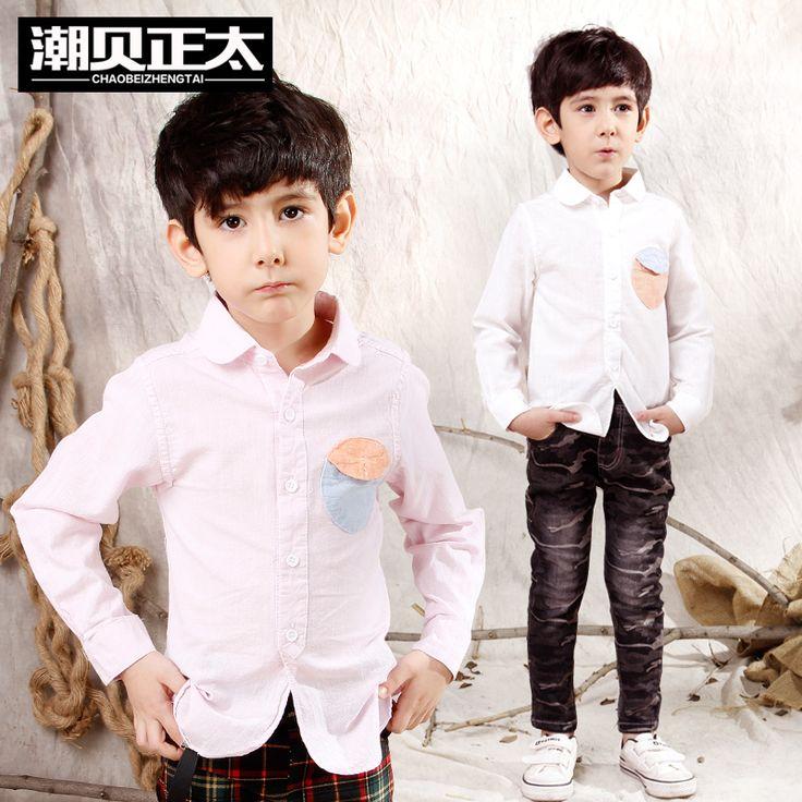 Мода бренд весна лето мальчиков рубашки, Отложным воротником сплошной свободного покроя детская одежда, С длинным рукавом хлопок детский мальчик рубашки,Рубашка для мальчика,рубашки на мальчиков,детская рубашка