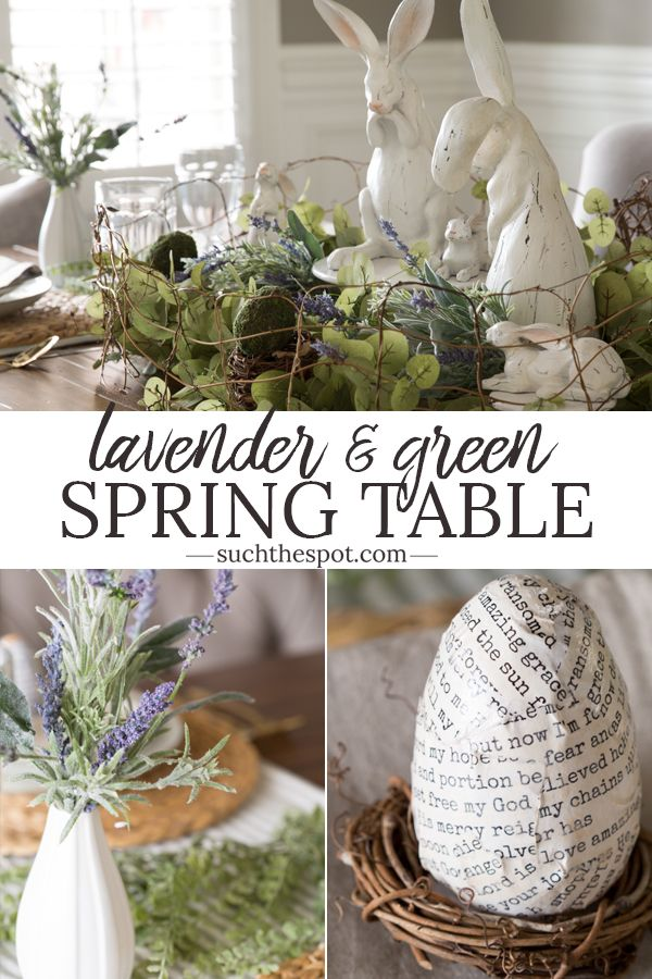 This sage green and lavender spring table
