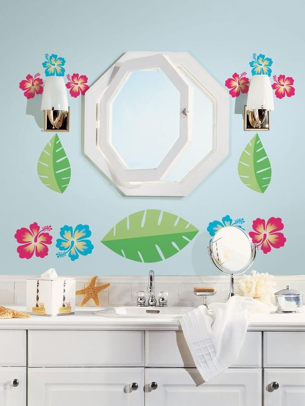 Add whimsy to your teens bathroom with Hawaiian inspired decor and  with removable tropical decals.