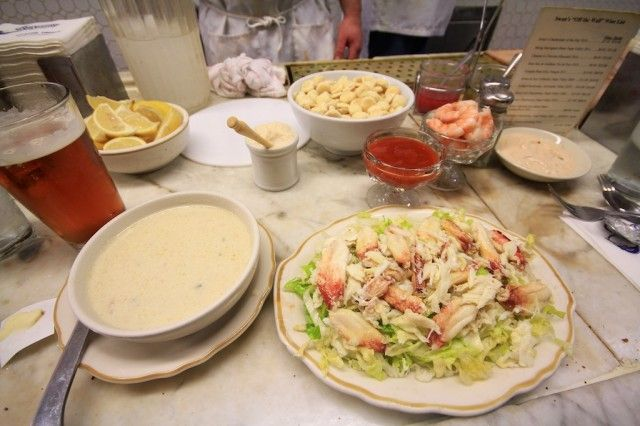 Swan Oyster Depot Clam Chowder and Crad Salad