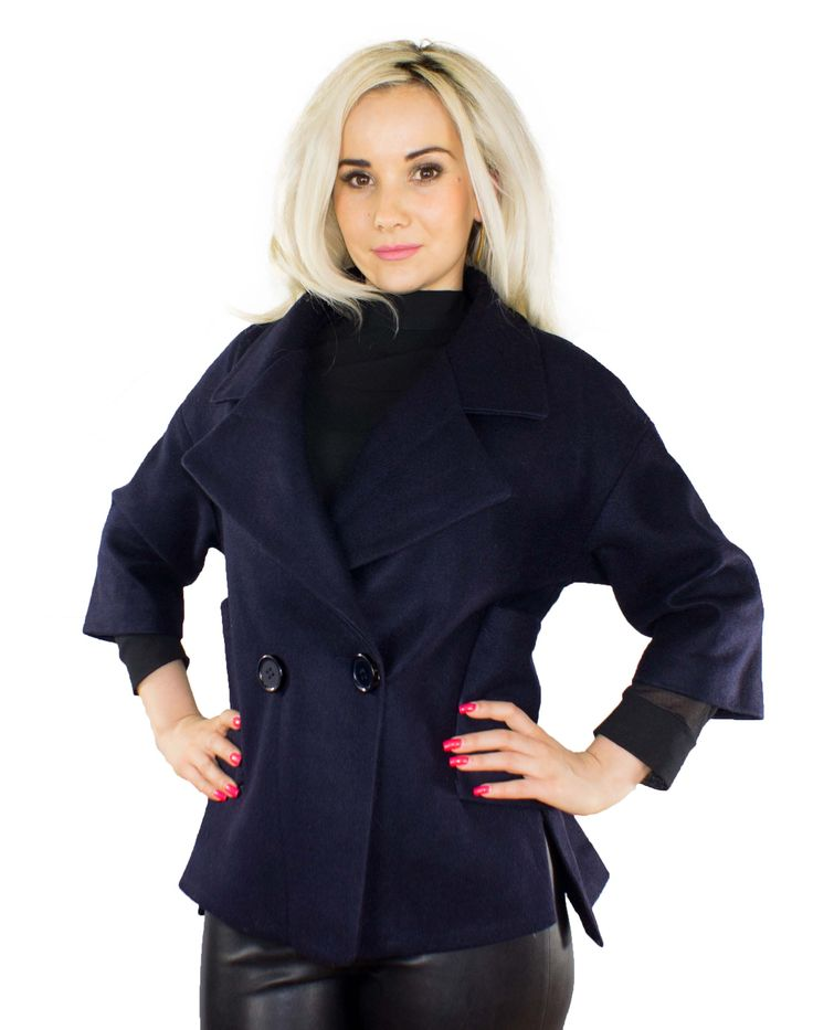 Trendige Damenjacke Farbe: Blau Außenmaterial: 80% Polyamid 20% Wolle