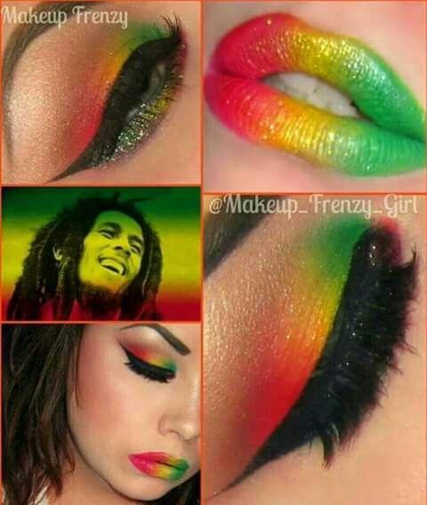 Dramatic make up. Rasta colors