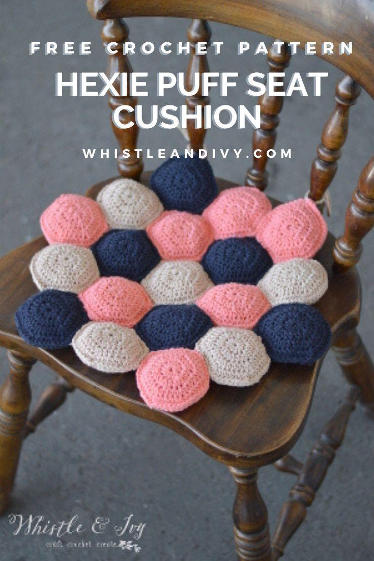 Hexagon Puff Seat Cushion Free Crochet Pattern Whistle And Ivy In 2020 Crochet Hexagon Crochet Crochet Patterns