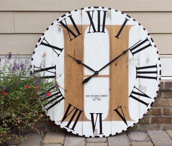large wall clock farmhouse clock oversized wall clock