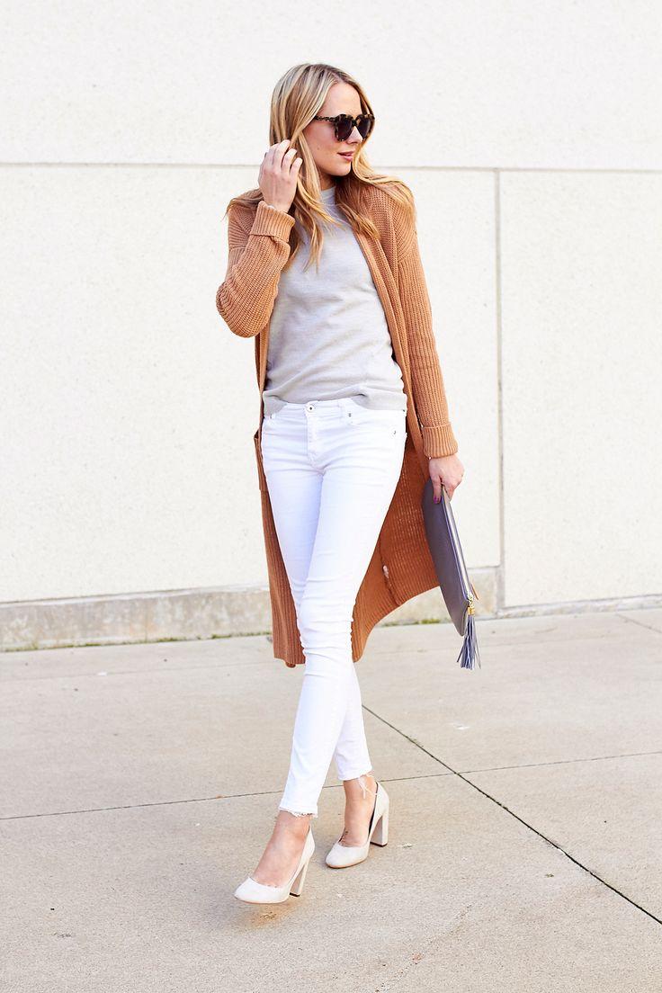 fashion-jackson-white-skinny-jeans-camel-long-cardigan-white-pumps