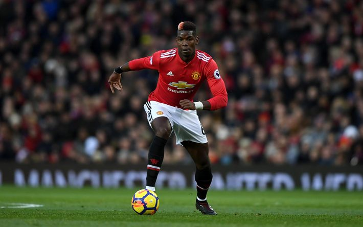 Download wallpapers Paul Pogba, 4k, football stars, match, Manchester United, soccer, MU, Premier League, footballers