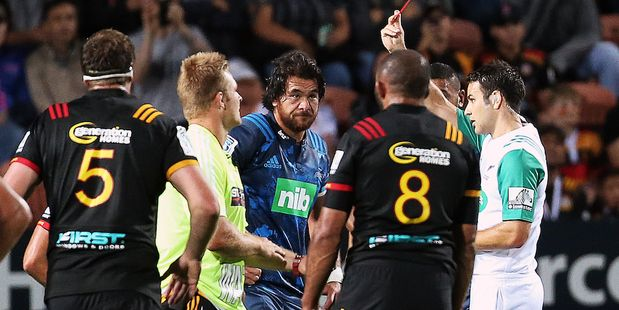 Steven Luatua was shown a red card for a high tackle against the Chiefs by referee Ben O'Keeffe. Photo/Photosport