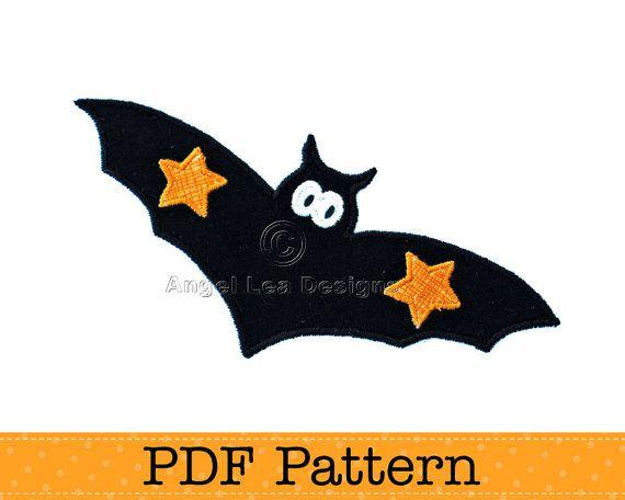 Bat Applique Template. Halloween Applique Design, DIY, PDF Template by Angel Lea Designs