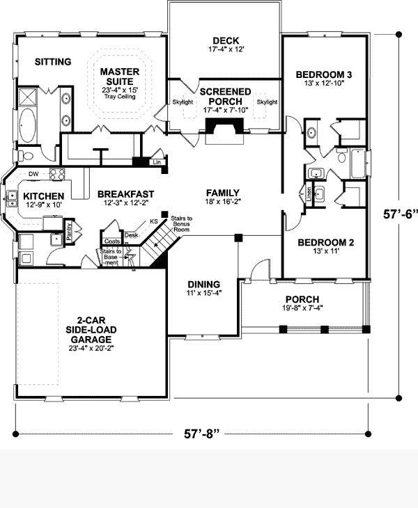 First Floor Plan Of Ranch House Plan 92461 Would Add Private Porch To  Master Suite, Make Kitchen And Pantry Bigger And Add A Bonus Room Upstairs.