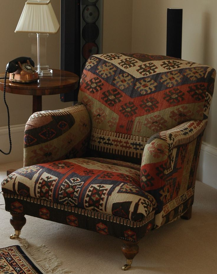 Howard armchair upholstered in Anatolian Kilim #chair #upholstery #kilim #colour