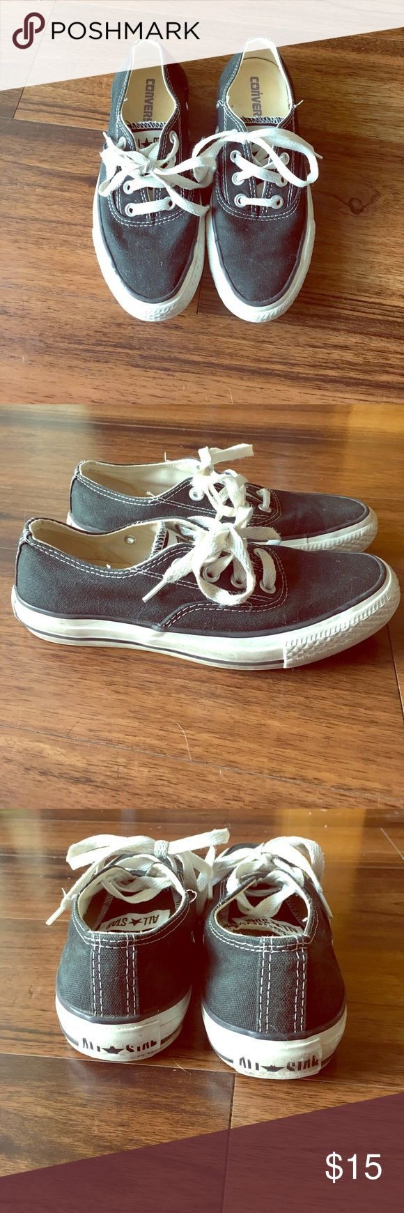 Converse Tennis Shoes Black converse tennis shoes! Nearly perfect condition. Cute and comfy!! Converse Shoes Sneakers