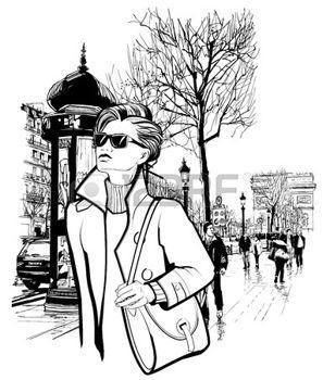 Donna che cammina in Champs-Elys�es a Parigi - illustrazione vettoriale photo