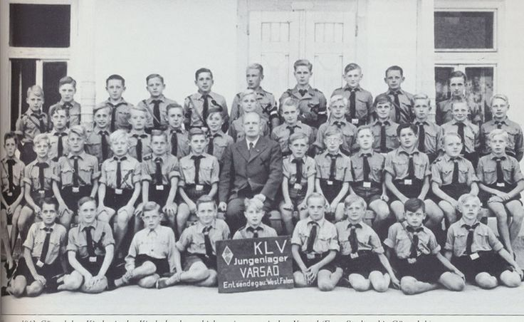 1943 - Bielefeld, Westphalia: A group of boys from Hitler's WWII program Kinderlandverschickung (KLV), a short form of Verschickung der Kinder auf das Land/relocation of children to the countryside.