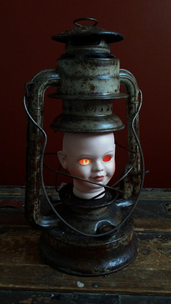 "One-of-a-kind ""Elizabeth"" Creepy Doll Head Lamp by UrsMineNours 25% Off Any Order w/code THANKYOU25 @ checkout"